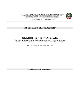 CLASSE 5^ B PACLE Perito Aziendale