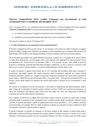 Decreto Competitività 2014 - Morri Cornelli e Associati