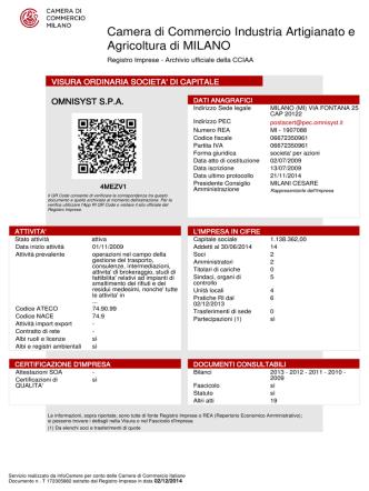 Certificato C.C.I.A.A