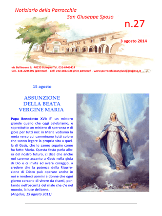 Agenda n° 27 - 2014 - Parrocchia San Giuseppe Sposo