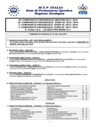 Comunicato Ufficiale n° 25 del 19.03.2014