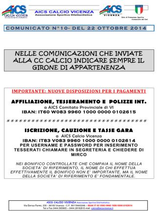 comunicato n.10 del 22-10-2014