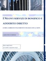 Nuovi Servizi di Bonifico e Addebito Diretto