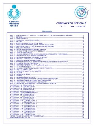 COMUNICATO UFFICIALE - Risultati e Classifiche