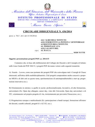 CircDirig 436 presentazione Progetti POF a.s. 2014.15