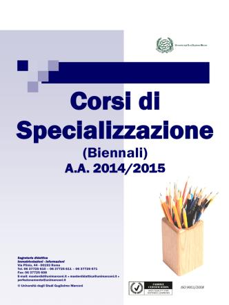 Corsi di Specializzazione - Università degli Studi Guglielmo Marconi