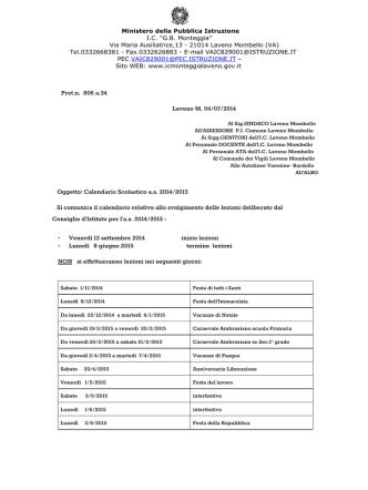 Calendario scolastico A.S. 2014-15 - Istituto Comprensivo Statale