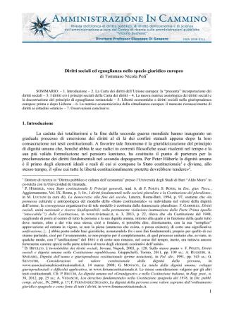 1 Diritti sociali ed eguaglianza nello spazio giuridico europeo di