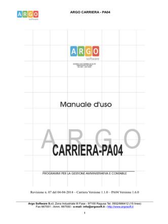 ARGO CARRIERA - PA04 Revisione n. 07 del 04-04