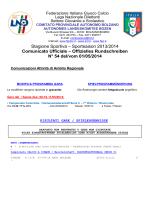 Stagione Sportiva – Sportsaison 2013/2014 Comunicato