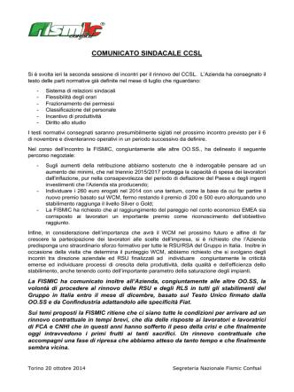 Comunicato Sindacale CCSL FCA e CNH Industrial.