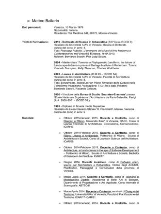 curriculum vitae - Università IUAV di Venezia