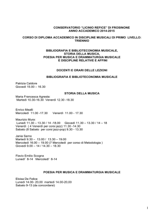 """conservatorio """"licinio refice"""" di frosinone anno accademico 2014"""