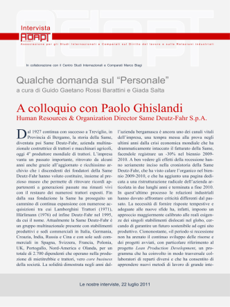 A colloquio con Paolo Ghislandi, Human Resources