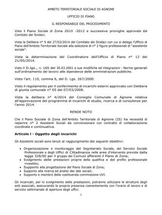 Bando di selezione - Comune di Castel del Giudice