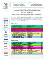 comunicato ufficiale n.5 del 29/7/2014 ufficio gare n.5 campionati