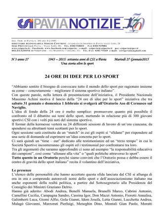 comunicato nr. 3 del 27/01/2015