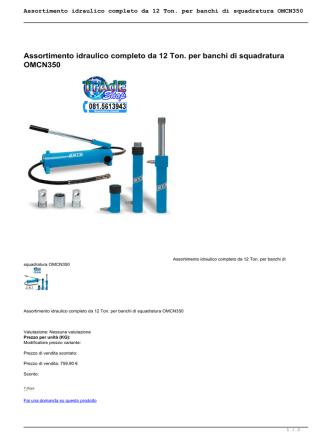 Assortimento idraulico completo da 12 Ton. per