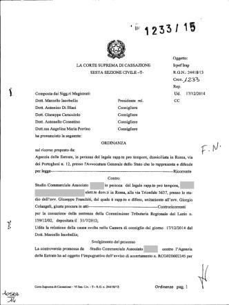 Corte di Cassazione, sez. VI, ordinanza 22/01/2015, n. 1233