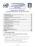 Comunicato Ufficiale N° 29 del 29/01/2015