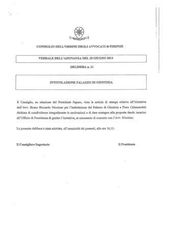 delibera COA Firenze n. 11 del 18.06.2014