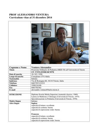 CV dicem 2014 Ventura - I.R.C.C.S. Burlo Garofolo
