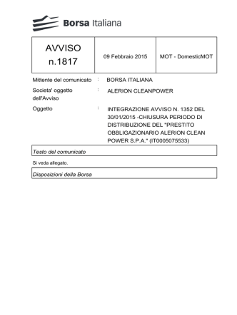 AVVISO n.1817 - Borsa Italiana