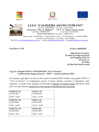 Circolare n. 139 del 06-02-2015 Circolare esame DELF