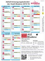 Abfall-Entsorgungskalender der Stadt Bludenz 2015/16