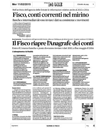 2015 02 11 .. Il Fisco Completa l`Anagrafe dei Conti Correnti .. 24Ore