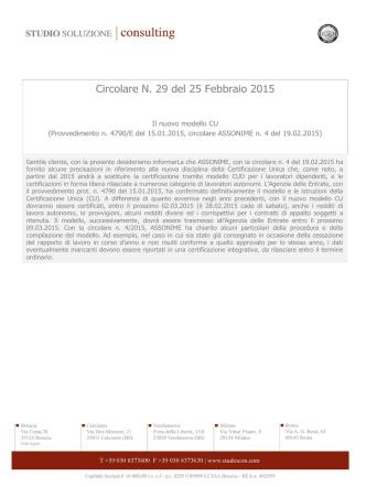 Circolare N. 29 del 25 Febbraio 2015