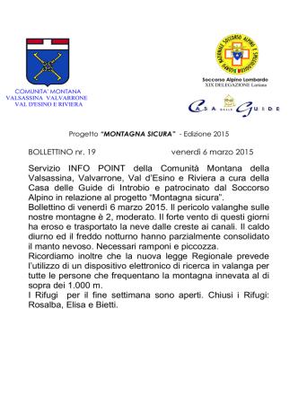 Bollettino - Alta Valsassina