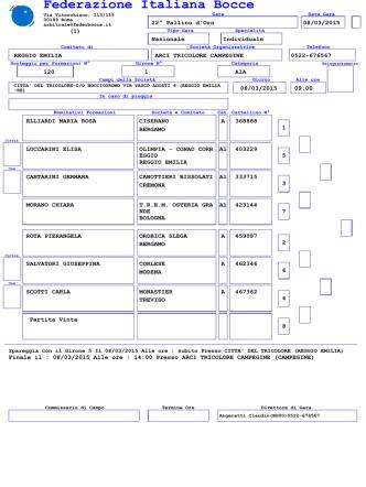 arci tricolore campegine - Federazione Italiana Bocce