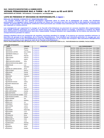 BA2 Inscriptions pour TURIN AU 24-02-15