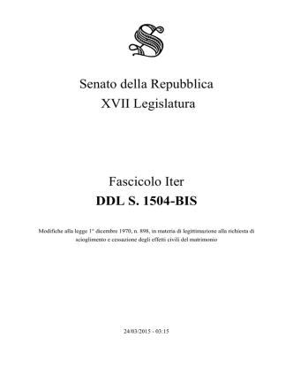 1. DDL S. 1504-BIS - XVII Leg.