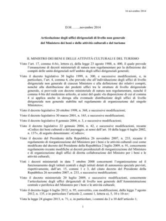D.M……..novembre 2014 Articolazione degli uffici