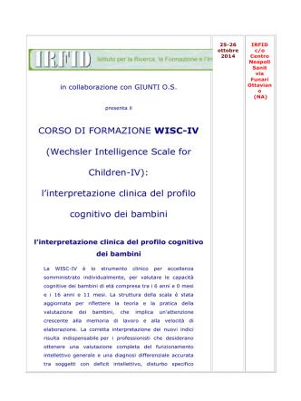 CORSO DI FORMAZIONE WISC-IV (Wechsler Intelligence Scale for