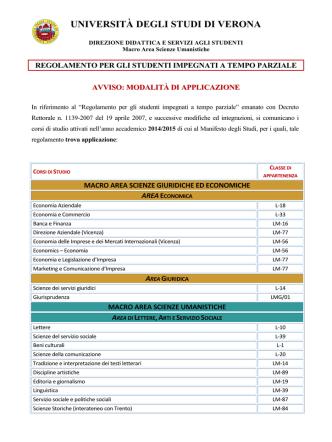 avviso part-time - Università degli Studi di Verona