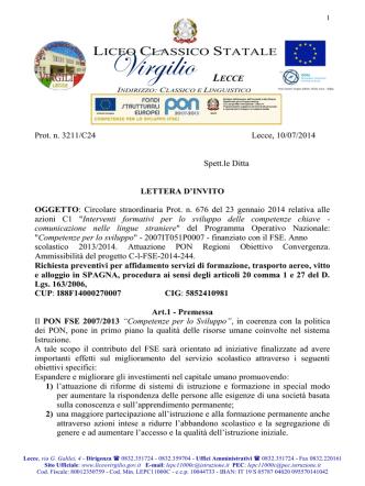 BANDO - Richiesta Preventivo PON C1 Estero SPAGNA