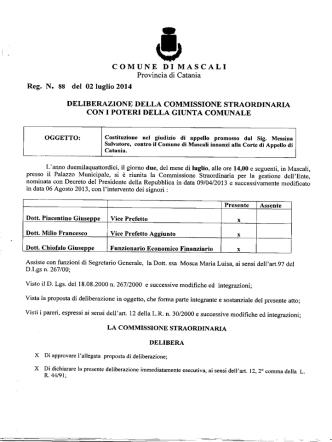 Costituzione nel giudizio di appello promosso dal Sig, Messina