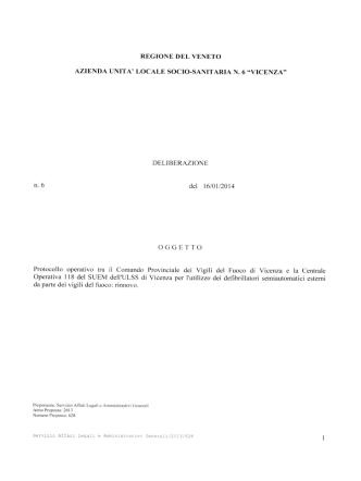 DELIBERAZIONE n6 del 16/01/2014 OGGETTO