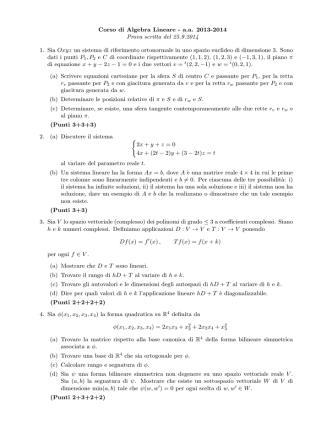 Corso di Algebra Lineare - a.a. 2013