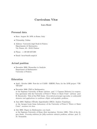 Curriculum Vitæ - Dipartimento di Matematica