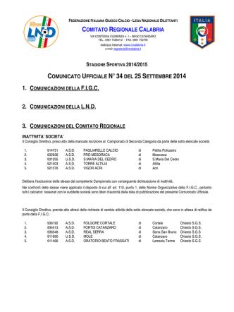 Comunicato Ufficiale n. 34 del 25 Settembre 2014