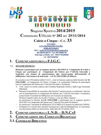 COMUNICATO UFFICIALE N.01