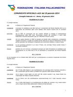 FEDERAZIONE ITALIANA PALLACANESTRO COMUNICATO