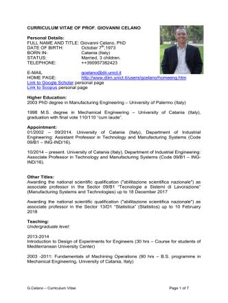 CURRICULUM VITAE OF GIOVANNI CELANO, PhD