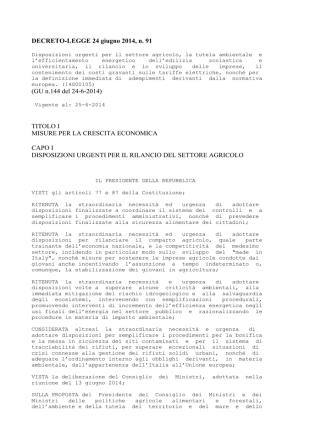 DECRETO-LEGGE 24 giugno 2014, n. 91 (GU n.144 del 24-6-2014