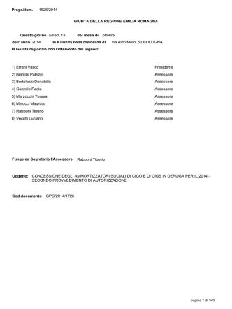 Delibera di GR n. 1626 del 13/10/2014