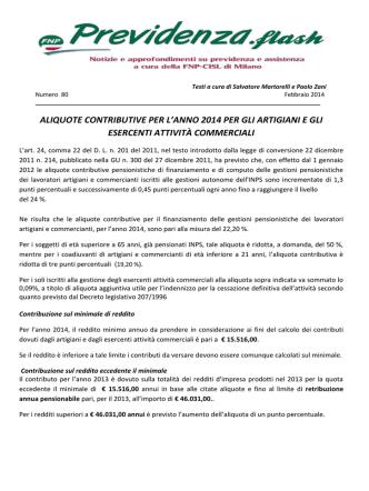 Aliquote contributive 2014 per artigiani e commercianti